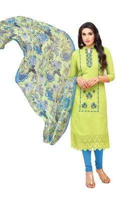 Green Embroidered Silk Blend Salwar With Dupatta