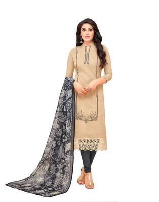 Beige Embroidered Silk Blend Salwar With Dupatta