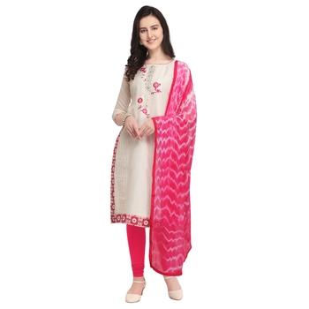 Cream Embroidered Cotton Silk Salwar With Dupatta