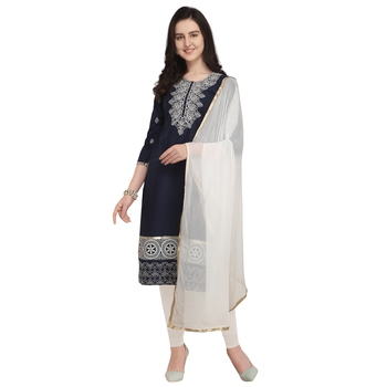 Navy-Blue Embroidered Cambric Salwar With Dupatta
