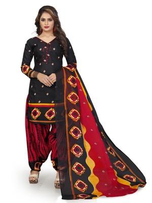 Black Printed Cotton Salwar With Dupatta
