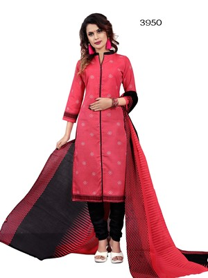 Pink printed cotton salwar with dupatta