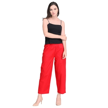 Inddus Red Cotton Solid Palazzo