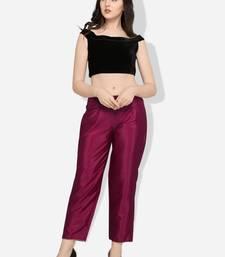 Inddus Purple Art Silk Solid Palazzo