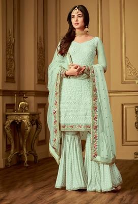 Light-cyan embroidered net salwar