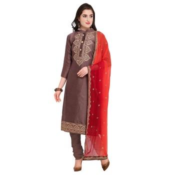 Dark-Brown Embroidered Cotton Silk Salwar With Dupatta