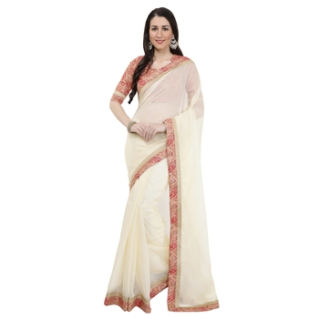Beige super net saree with blouse
