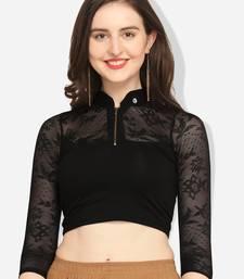 Inddus Black Solid Lycra Blouse