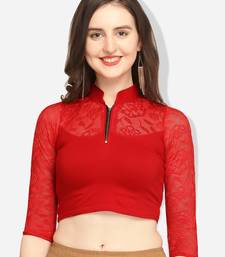 Inddus Red Solid Lycra Blouse
