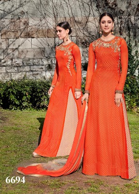 ORANGE embroidered georgette unstitched salwar with dupatta