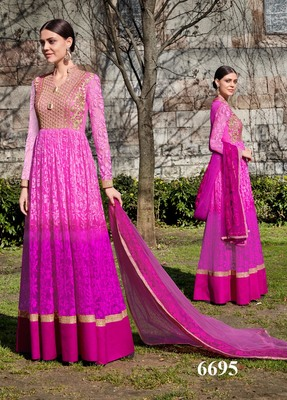 pink embroidered brasso unstitched salwar with dupatta