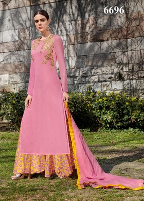 PINK  embroidered georgette unstitched salwar with dupatta