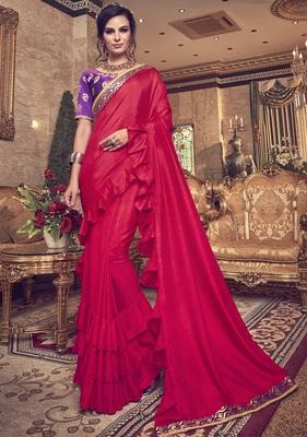 Red plain art silk ruffle saree with blouse