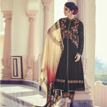 BLACK brasso georgette unstitched salwar with dupatta