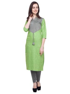 Green plain Khadi cotton cotton-kurtis