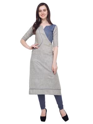 Grey plain Khadi cotton cotton-kurtis