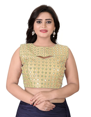 beige embroidered banglory round neck blouse