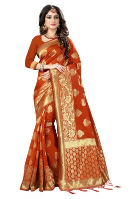 Orange woven silk blend silk saree with blouse
