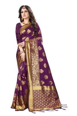Purple woven silk blend silk saree with blouse