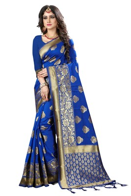 Royal blue woven silk blend silk saree with blouse