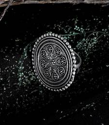 Zerokaata Adjustable Oxidized Silver Ring