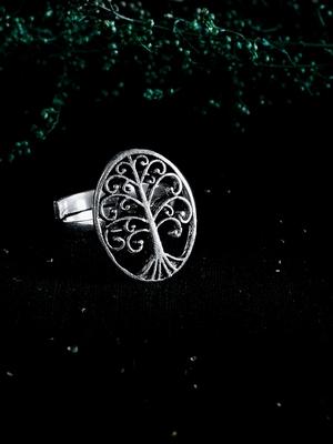 Zerokaata Adjustable Oxidized Silver Tree Ring