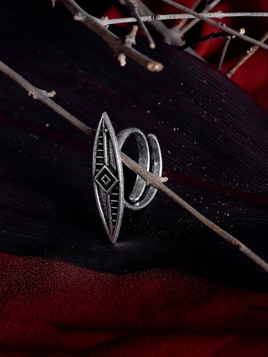 Zerokaata Adjustable Oxidized Silver Sleek Ring