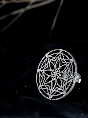 Zerokaata Classic Adjustable Oxidized Silver Ring