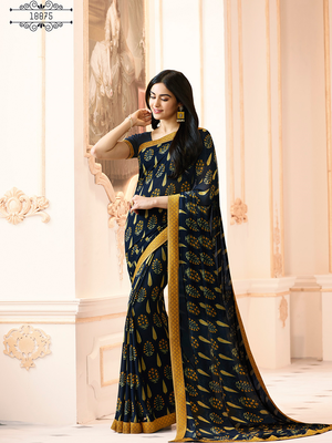 bb2238681b Navy blue printed georgette saree with blouse - Malhari - 2858897