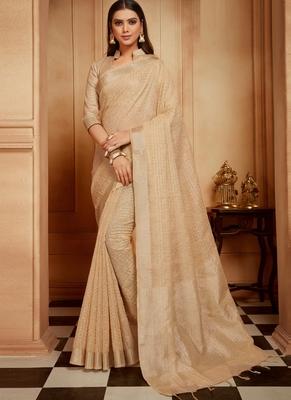 Cream woven jute cotton saree with blouse