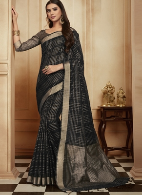 Black woven jute cotton saree with blouse