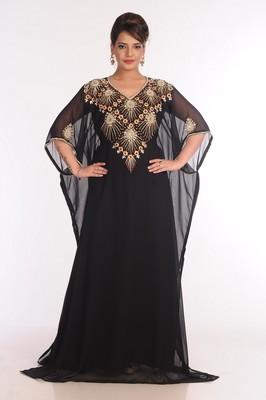 Georgette Black Embroidered Islamic Kaftans