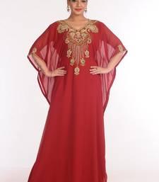 georgette maroon embroidered islamic kaftans