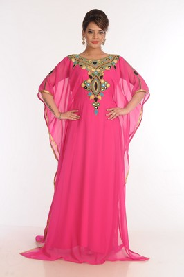 Georgette Pink Embroidered Islamic Kaftans