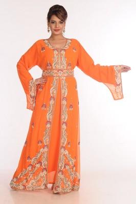 Georgette Orange Embroidered Islamic Kaftans