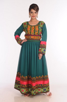 Georgette Green Embroidered Islamic Kaftans