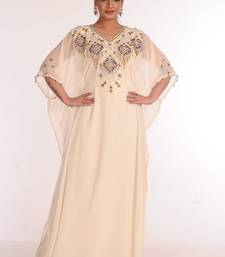 georgette cream embroidered islamic kaftans