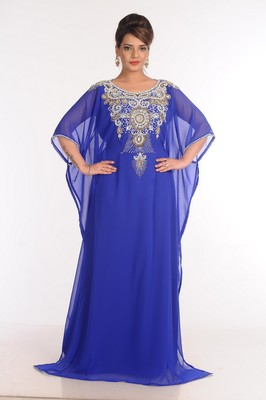 Georgette Royal Blue Embroidered Islamic Kaftans
