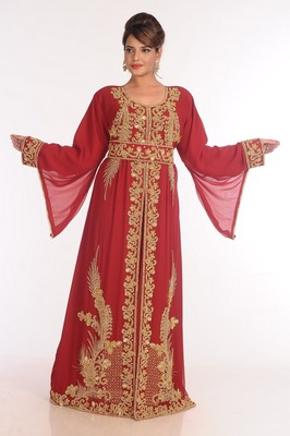 Georgette Red Embroidered Islamic Kaftans