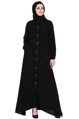 Black front open girls stylish abaya