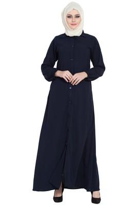 Navy blue front open girls stylish abaya