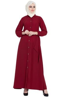 Maroon front open girls stylish abaya