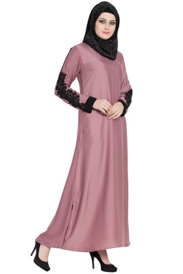 pink women stylish abaya