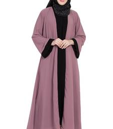 pink & black stylish shrugg abaya