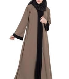 Beige & black shrugg style abaya