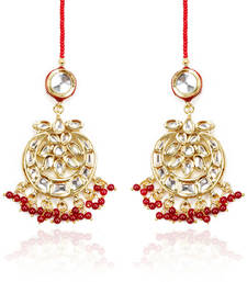 White Kundans And Red Beads Chandelier Earrings