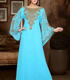 Turquoise embroidered georgette islamic kaftans