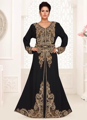 Black embroidered georgette islamic kaftans