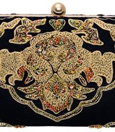 Box Clutch with Machine and Hand Embroidered Work On Pure Velvet Elegant Imported Texture