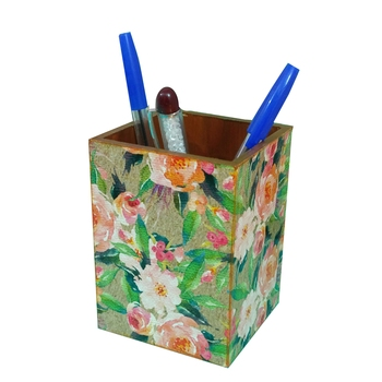 Dreamy Zone Decoupage MDF Wooden Pen Stand for Table Decor